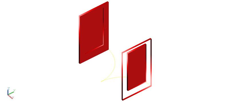 puerta doble en 3d (3 dimensiones) modelo 02