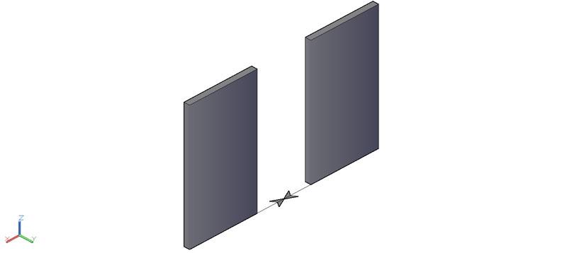 puerta doble corredera en 3d (3 dimensiones)