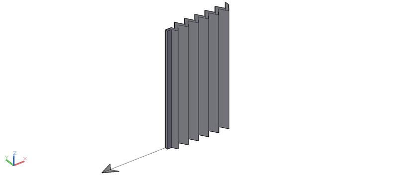 puerta plegable en 3d (3 dimensiones)