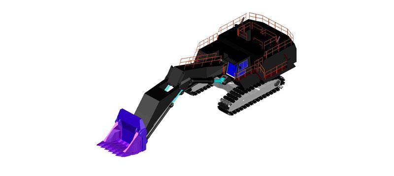 retroexcavadora en 3d (3 dimensiones)