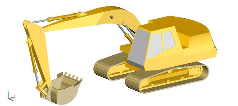 retroexcavadora en 3d (3 dimensiones) modelo 02