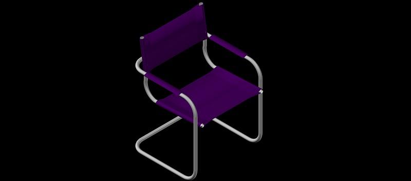 silla de estructura de tubo de acero en 3 dimensiones