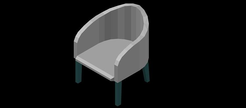 silla tipo butaca en 3 dimensiones