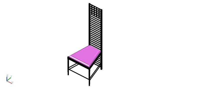 silla en 3 dimensiones, modelo 04