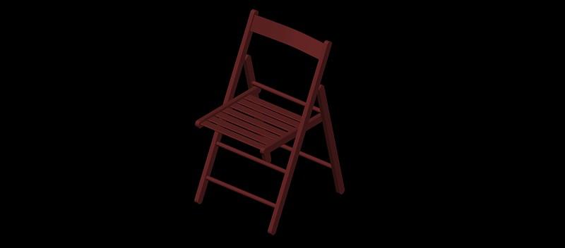 silla plegable de madera en 3 dimensiones