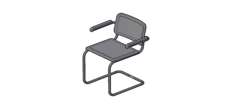 sillón Breuer, modelo B55 en 3 dimensiones