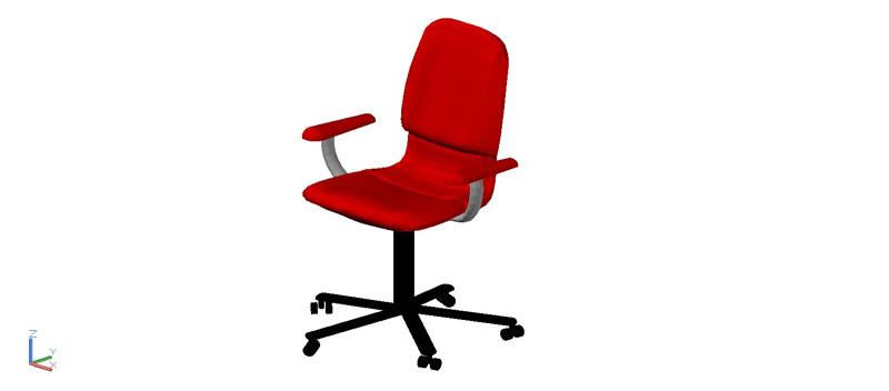 silla de oficina con apoya brazos y ruedas en 3 dimensiones