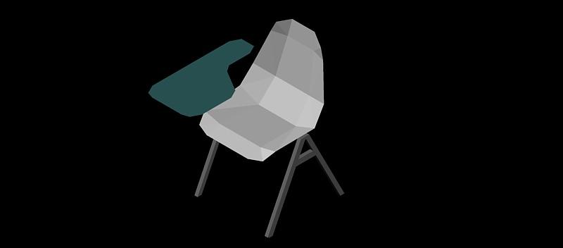 silla escolar con paleta en 3 dimensiones