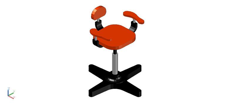 sillón para peluquería en 3 dimensiones