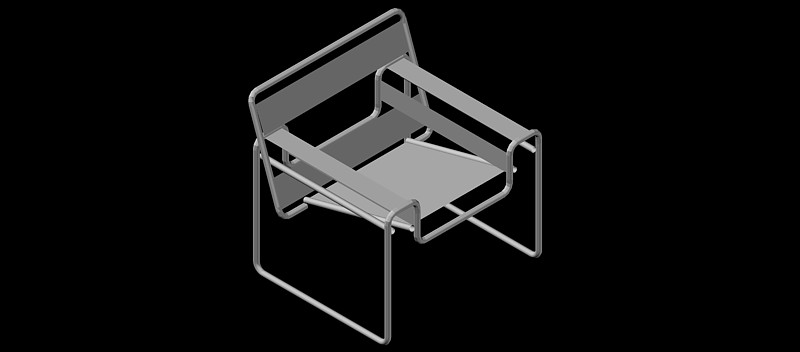Silla Wassily vista en 3 dimensiones