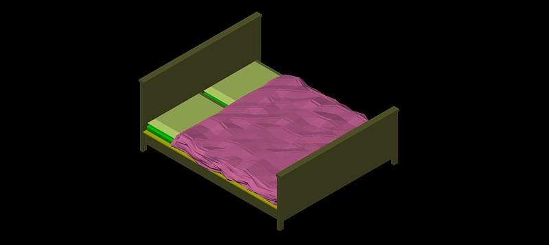 cama doble en 3d (3 dimensiones), modelo 01