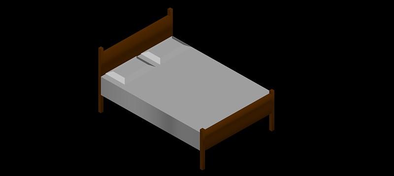 cama doble en 3d (3 dimensiones), modelo 02