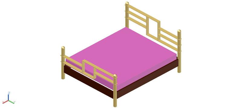 cama doble en 3d (3 dimensiones), modelo 03
