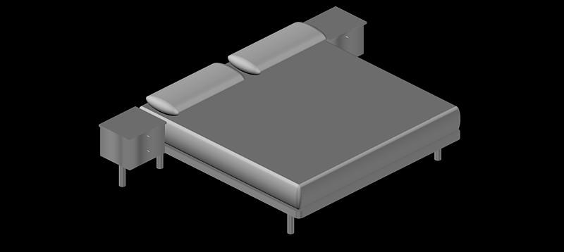 bloques autocad gratis de cama doble en 3d 3 dimensiones
