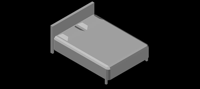 cama doble en 3d (3 dimensiones), modelo 05