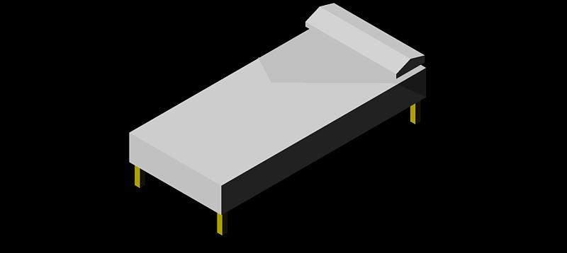 cama individual en 3d (3 dimensiones) modelo 01