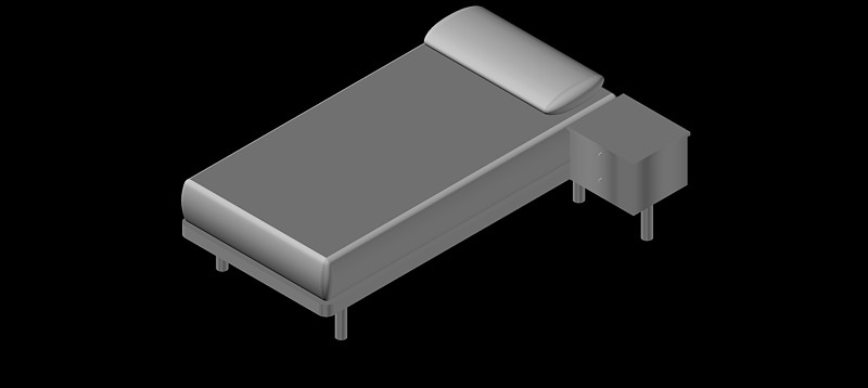 cama individual en 3d (3 dimensiones) modelo 02