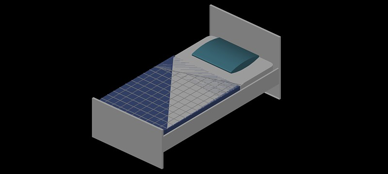 cama individual en 3d (3 dimensiones) modelo 03
