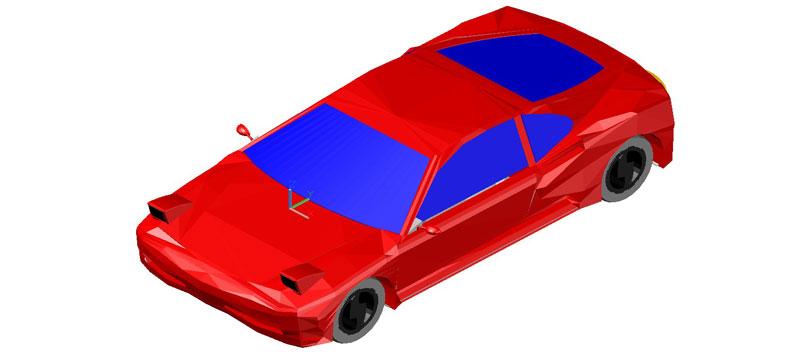 Coche en 3d (3 dimensiones) modelo 03