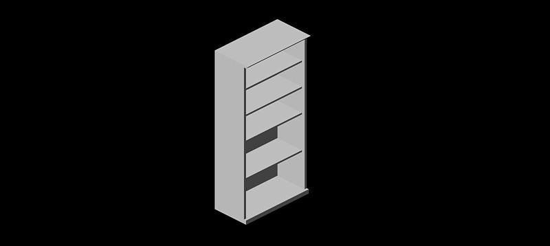 estantería con 5 estantes en 3d (3 dimensiones)