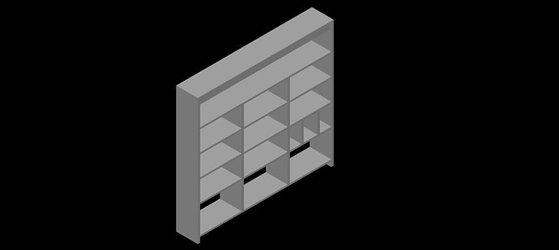 estantería triple con 5 estantes en 3d (3 dimensiones)