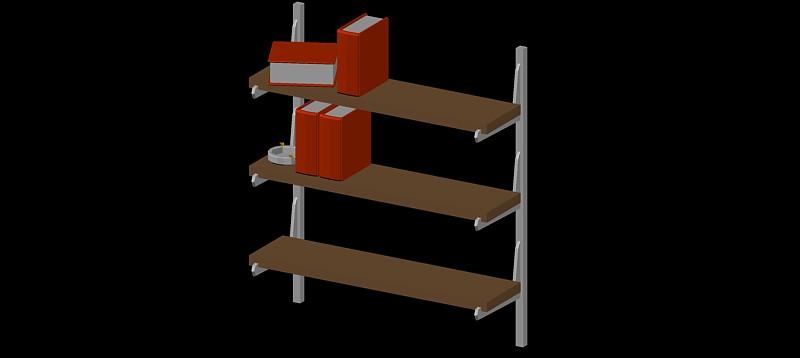 estantería de pared con 3 estantes en 3d (3 dimensiones)