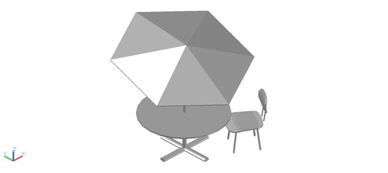 mesa jardín con sombrilla en 3d (3 dimensiones)