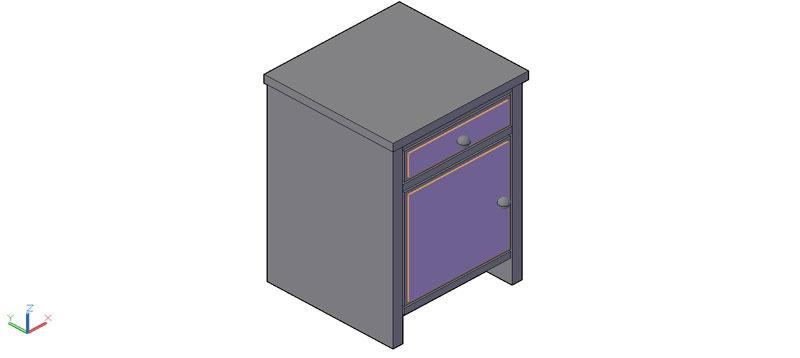 mesilla de noche en 3d (3 dimensiones) modelo 02