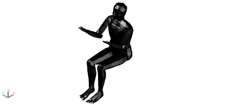hombre sentado en 3d (3 dimensiones)