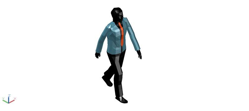 persona masculina caminando en 3d (3 dimensiones)