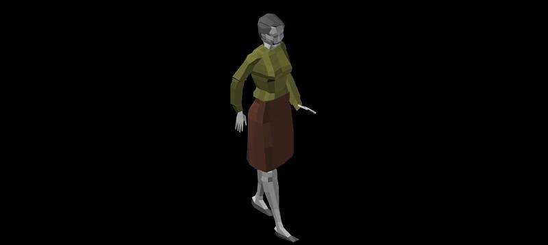 figura de mujer de pié en 3d (3 dimensiones)