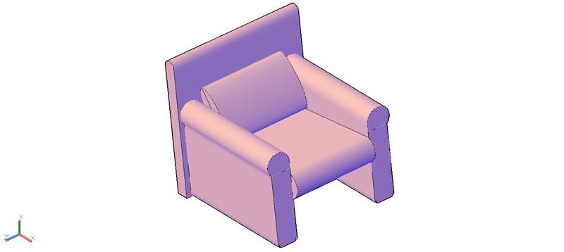 sillón en 3d (3 dimensiones) modelo 06