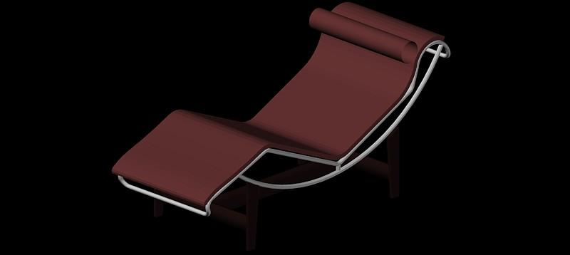 sillón Le Corbusier LC4 en 3d (3 dimensiones)
