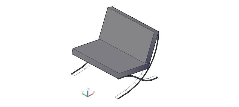 sillón Barcelona Mies van der Rohe en 3d (3 dimensiones)