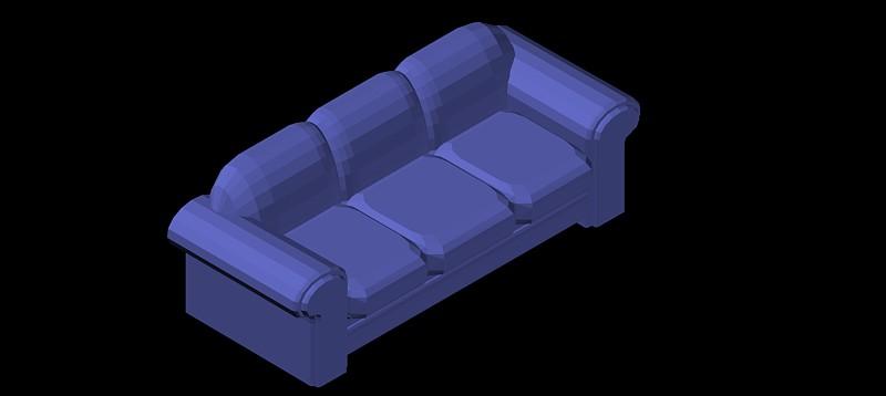 sofá 3 plazas en 3d (3 dimensiones) modelo 01