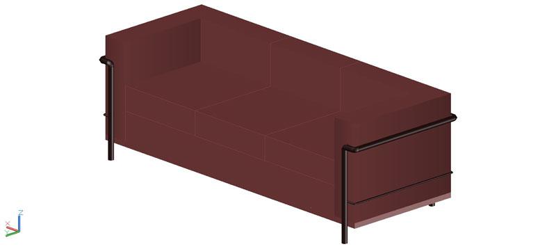 sofá LC2 3 plazas en 3d (3 dimensiones)