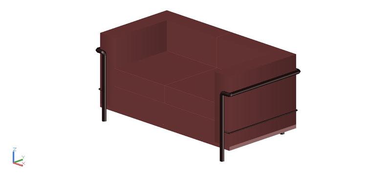 sofá LC2 2 plazas en 3d (3 dimensiones)