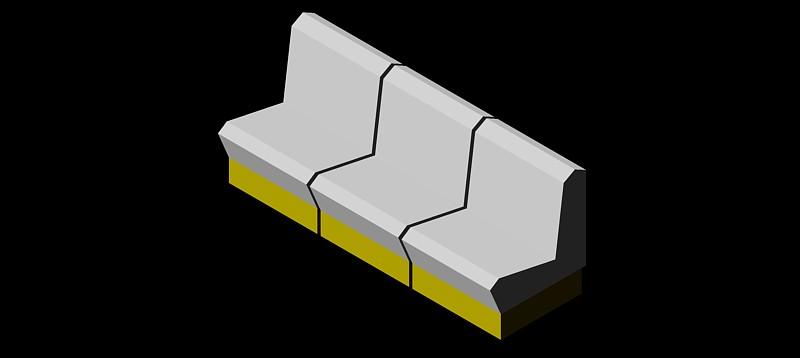 sofá de 3 plazas en 3d (3 dimensiones) modelo 02