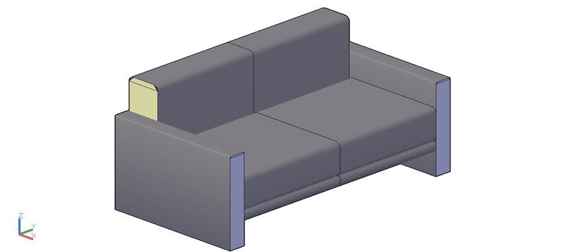 sofá de 2 plazas en 3d (3 dimensiones) modelo 01