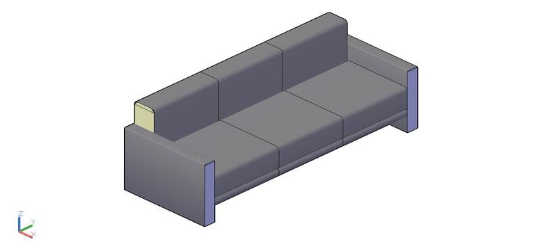 sofá de 3 plazas en 3d (3 dimensiones) modelo 03