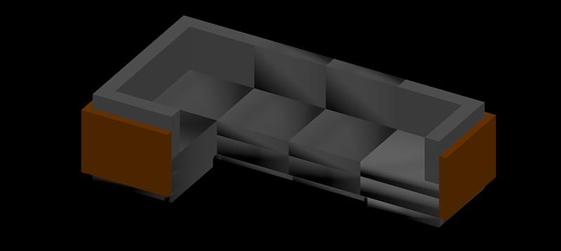 sofá de esquina de 4 plazas en 3d (3 dimensiones) modelo 03