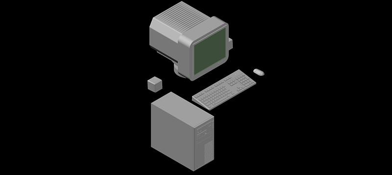 ordenador personal monitor crt, modelo 2 en 3d (3 dimensiones)