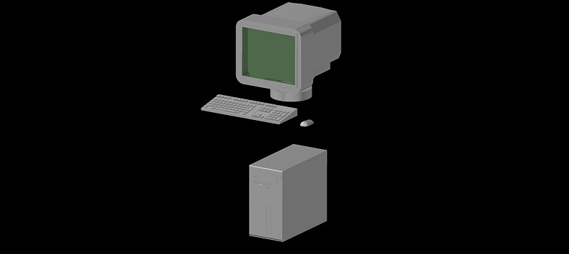 ordenador personal monitor crt en 3d (3 dimensiones)
