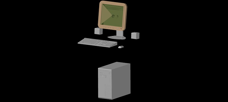 ordenador personal con pantalla plana, modelo 02 en 3d (3 dimensiones)