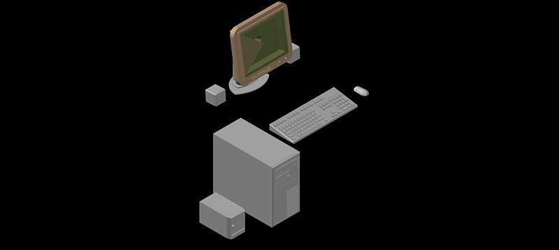 ordenador personal con pantalla plana en 3d (3 dimensiones)