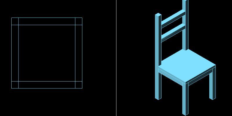 Silla en 3 dimensiones, recta y con respaldo.