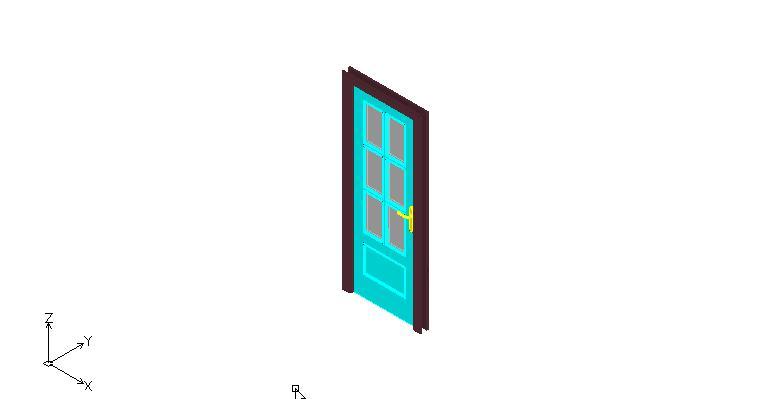 puerta con cristales en 3 dimensiones