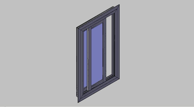 ventana corredera de aluminio 2 hojas en 3D