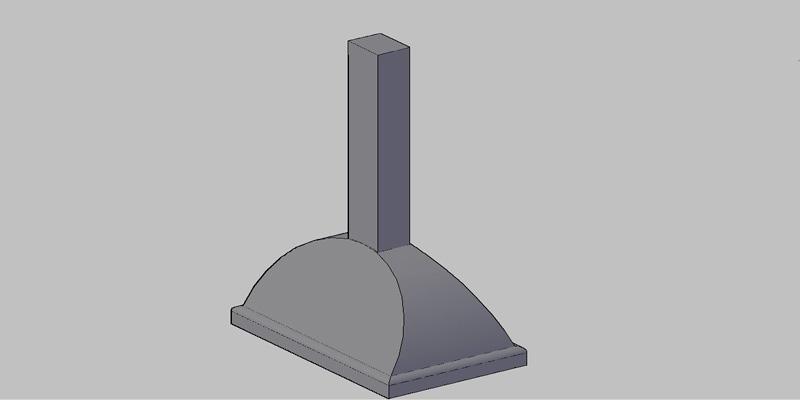 campana extractora de cocina en 3 dimensiones