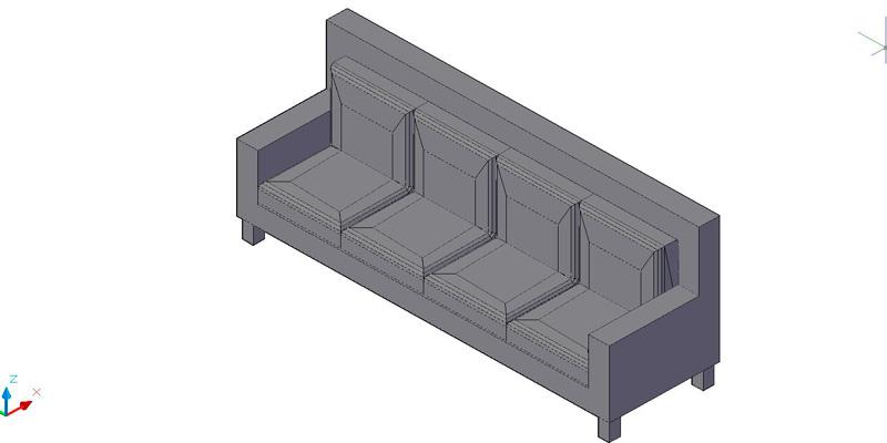 sofá recto de 4 plazas en 3 dimensiones